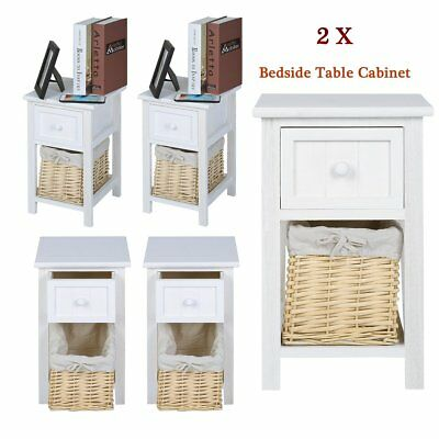2pcs Shabby Chic Wooden Bedside Table Cabinet With Wicker Drawer Organizer set G