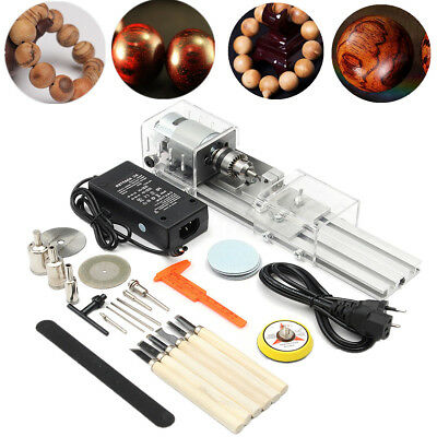25Pcs/Set 100W Mini Lathe Beads Polisher Machine For Table Woodworking DIY Tools