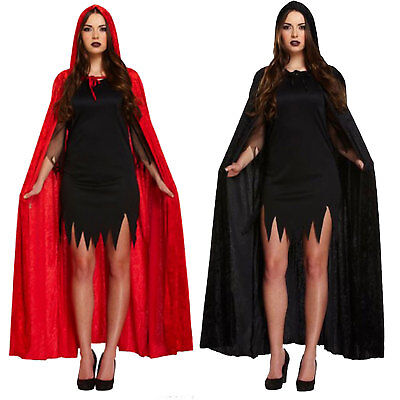 Devil Velvet Cape Black Red W/hood Costume Fancy Dress Party