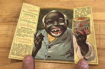 Vintage Antique Chase & Sanborn Coffee Black Americana Advertising Trade Card