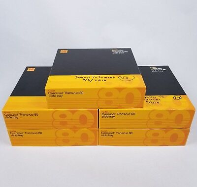 Lot of 5 Kodak Carousel Transvue 80 Slide Projector Trays with Original Boxes