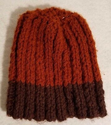 Childs Kids 2 Tone Brown Stocking Cap Retro Vintage Loose Knit Y