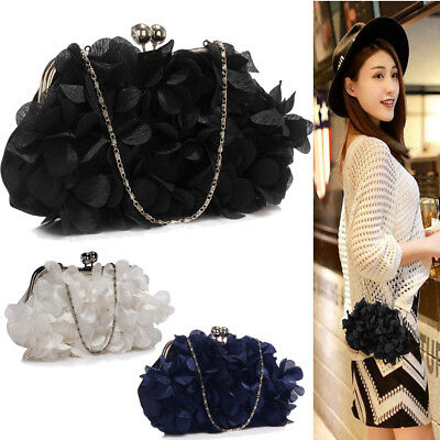 Ladies Handbags Wedding Bag Kiss Lock Satin Flower Evening Prom Party Clutch New