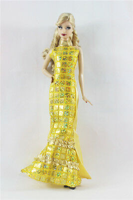 Golden Fashion Royalty Princess Dress/Clothes/Gown For Barbie Doll a01