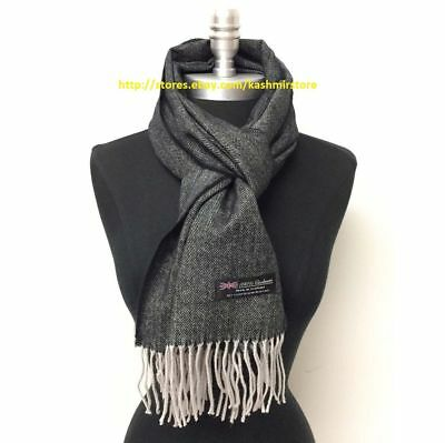 Men's Winter Scarf 100% Cashmere Tweed Gray Black SCOTLAND Soft Warm Wool Wrap