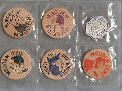 1965 Kettle Moraine Coin & Stamp Club West Bend WI Wooden Nickel 5pc Souvenir