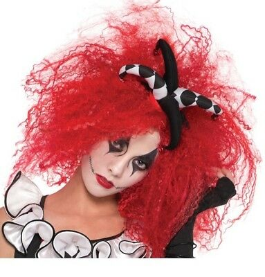 Ladies Red Crimped Harlequin Honey Jester Wig Jesterina Fancy Dress Costume
