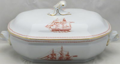 Spode Trade Winds-Red Oval Covered Vegetable