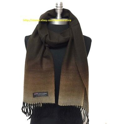 New 100% CASHMERE SCARF Brown Fade Plaid SCOTLAND SOFT Warm Wool Wrap UNISEX