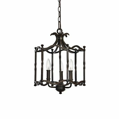 Traditional Old World Iron Pendant Chandelier | Lantern Cage Open Scroll