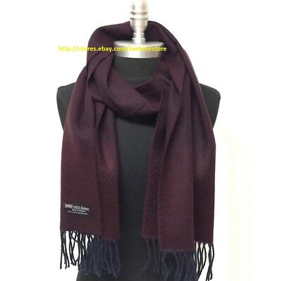 New Men's 100% CASHMERE Scarf Herring Bone Tweed Wine Navy Blue SCOTLAND Soft