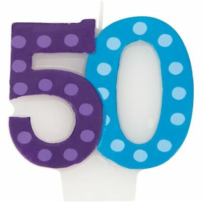 Bright & Bold 50th Birthday Candle Party Decoration