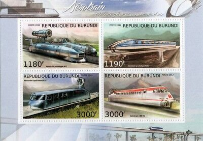 Aerotrain (Hovertrain) Experimental Railway Train Stamp Sheet (2012 Burundi)