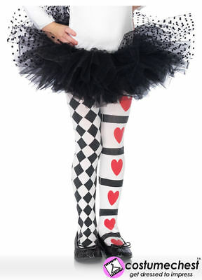 11-13 years Harlequin and Heart Tights by Leg Avenue
