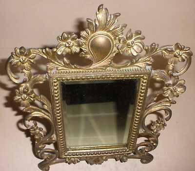 "Antique Victorian brass mirror ornate flowers frame 11""x8"""