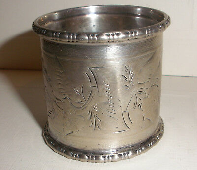 Antique Victorian Sterling Silver large napkin ring  floral decoration