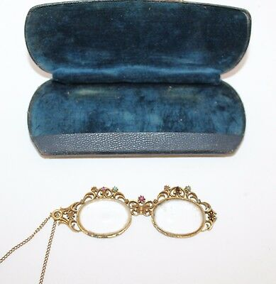 Fancy Antique 1940s Necklace Glasses Spectacles w/ Clam Shell Metal Leather Case