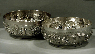 Indian Silver Bowls (2)       Hand Decorated Village Scenes      c1890