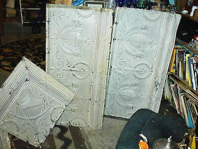 Antique 1863 Metal Ceiling  Tin 800 Squares 3 kinds Lovely Ornate Rare Condition