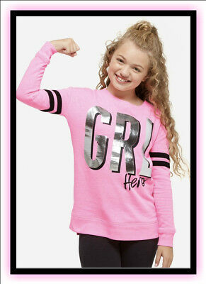 "NWT JUSTICE Girls 6/7 8/10 Pink ""GRL HERO"" Sweatshirt So Cute!!"