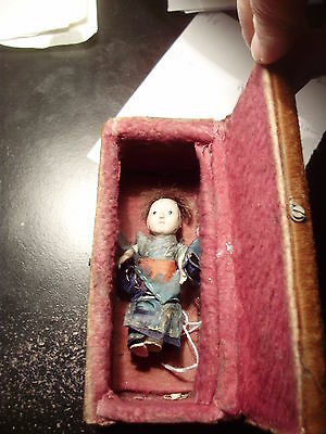 Spooky Little Vintage Chinese Doll In His Own Little Creepy Casket