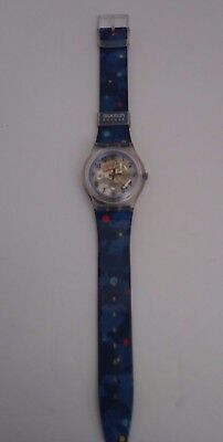Swatch Access Vintage Wrist Watch Clear Red Yellow Blue Polka Dot Band Unisex