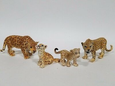 Schleich lot of 4 jaguar leopard animal figures