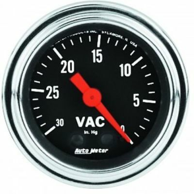 """Auto Meter 2484 2-1/16"""" Traditional Chrome Mechanical Vacuum Gauge, 0-30 in HG"""
