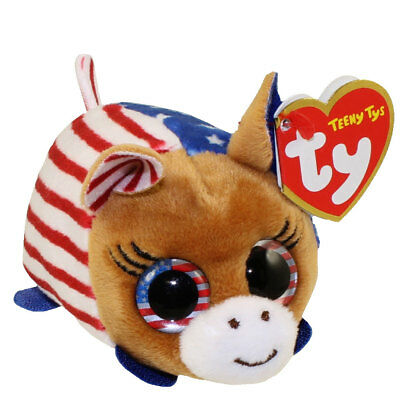 """TY Beanie Boos Teeny Tys 4"""" VOTE DEMOCRAT Donkey Stackable Plush MWMT's Ty Tags"""
