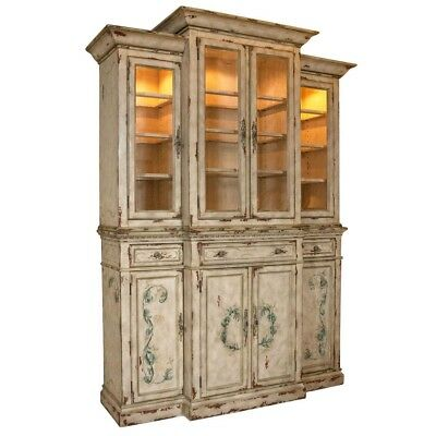 Country Painted Breakfront China Display Cabinet with Wine Storage Below