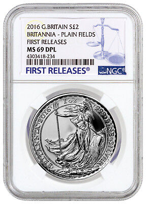 2016 Britain 2 PND 1 Oz Silver Britannia Plain Fields NGC MS69 DPL FR SKU38759
