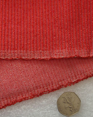 """METALLIC RED NEEDLECORD Vintage fabric remnant unused 94"""" L x 35"""" W SHOP SOILED"""