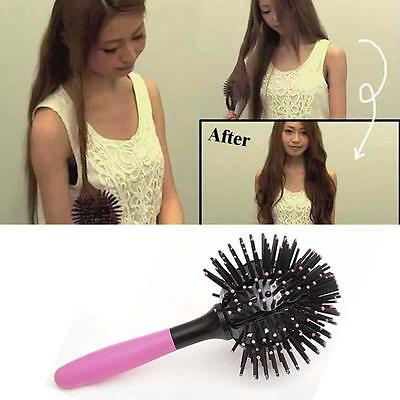 3D Bomb Curl Brush - Styling Salon Round Hair Curling Curler Comb Tool PINK RT
