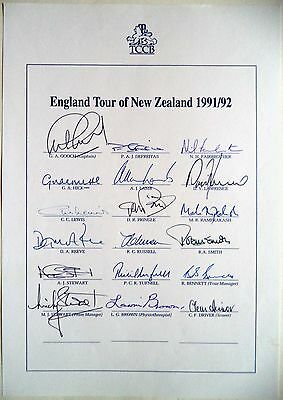England To New Zealand 1991-92 – Cricket Official Autograph Sheet
