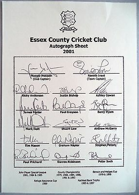 Essex 2001 County Championship – Cricket Official Autograph Sheet
