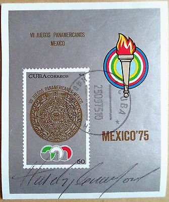 HASELY CRAWFORD – 1976 OLYMPIC GAMES 100m GOLD MEDAL SIGNED POSTAGE STAMP