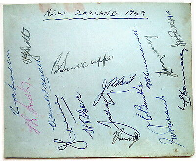 New Zealand To England 1949 Cricket Autograph Sheet