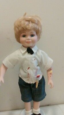 Porcelain Collections etc Boy Doll painter blonde Hair Blue Eyes Plus Stand