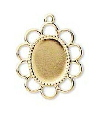 100 Gold Plated Brass Cabochon Setting Bails For 10x8mm Ovals