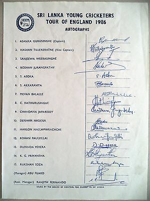 Sri Lanka Young To England 1986 – Cricket Official Autograph Sheet