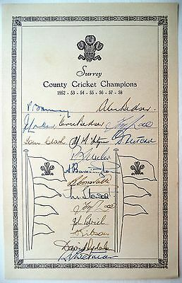 Surrey County Cricket Champions 1952-58 – Official Autograph Card