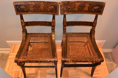 Pair of Wood Antique Caned-Seat Painted Side Chairs - PRICE REDUCED!