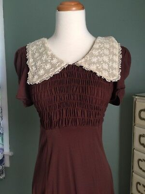 Vtg BABYDOLL Dress Lace Peter Pan Collar Puff Sleeves Brown Grunge DOLLY S Small