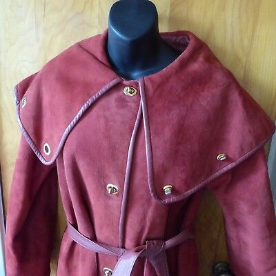 Vintage 1970s Suede Coat Caped Collar Bonnie Cashin Russet Red