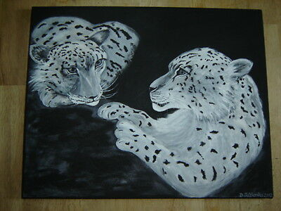 Snow Leopard Painting Acrylic on canvas approx. 15 3/4 x 20