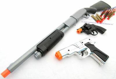 3x Toy Guns SWAT Pump-Action Shotgun Dart Silver 9MM Pistol & Revolver Cap Guns