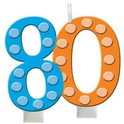 Bright & Bold 80th Birthday Candle Party Decoration