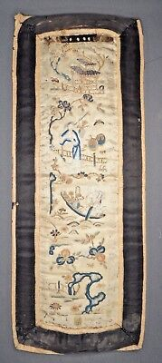 19th C. Qing [Ching] Dynasty Chinese Silk Embroidered Sleeve Panel