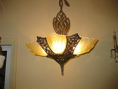 1930s Cast Iron 5 Light Slip Shade Chandelier