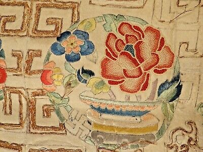 19th C. Qing [Ching] Dynasty Chinese Silk Embroidered Sleeve Panels--CHARMING